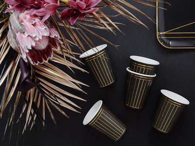 Black and Gold Strips Paper Cups,Gold Anniversary Party, Engagement Party, Gold Party Tableware