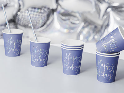 Happy Birthday Navy Cups, Holographic Happy Birthday Cups, Birthday Party Decor