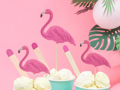 6 Flamingo Cupcake Toppers, Flamingo Party, Summer Party, Flamingo Picks