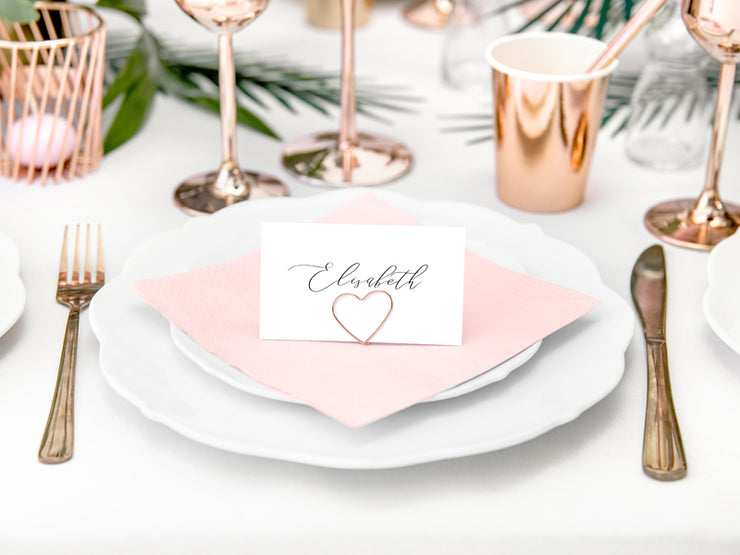 10 Rose Gold Place Card Holders, Rose Gold Wedding, Metal Table Decorations, Wedding Place Cards