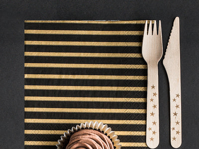 Gold Striped Napkins, Gold Birthday Napkins, Black Paper Napkins,