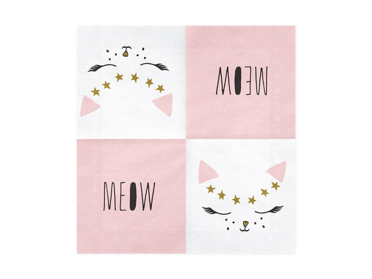 Kitten Paper Napkins, First Birthday, Girl birthday Party, Pink Cat Deco,