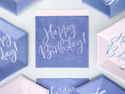 6 Happy Birthday Navy Plates, Holographic Happy Birthday Plates, Birthday Party Decor