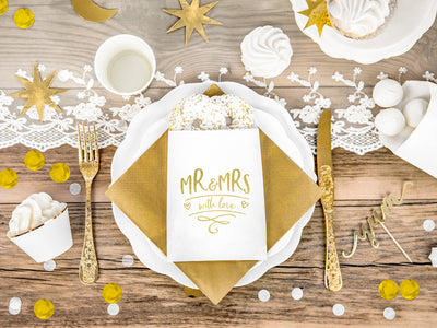 6 Gold Mr & Mrs Treat Bags, Thank You Treat Bags, Treat Favour Bags, Wedding Decoration, Gold wedding,