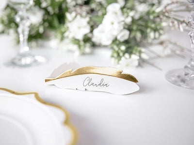10 Gold Feather Place Card, Table Place Cards, Wedding Decor