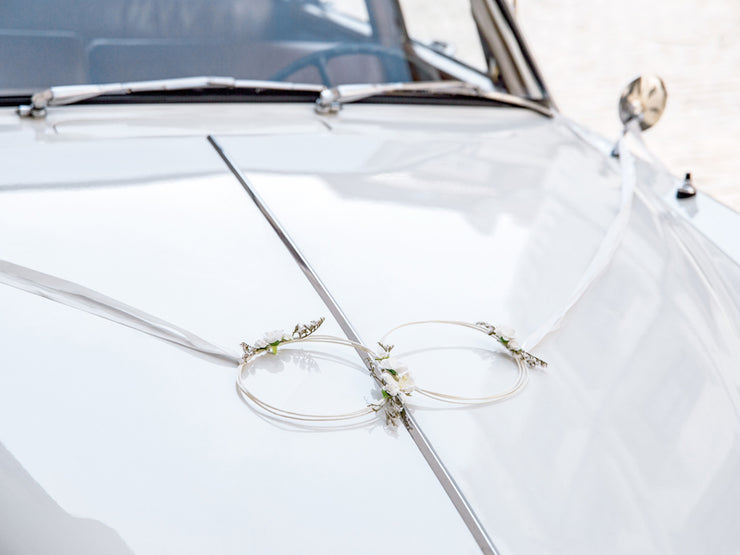 White Wedding Car Decoration Kit, White Rattan Hoop Car Decoration Rustic Wedding Car Decoration, Brides Car,