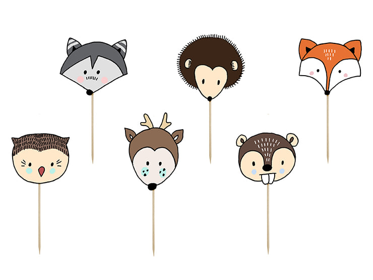 Woodland Cupcake Kit, Woodland Wrappers, Woodland Cupcake Toppers, Forest Animals Picks, Forest party,