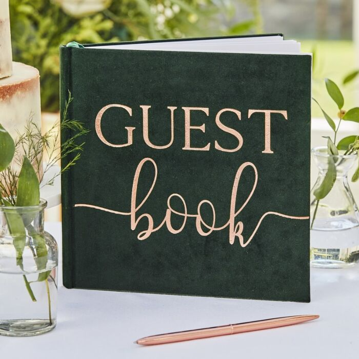 Rose Gold Dark Green Velvet Guest Book, Party Guest Book
