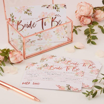 10 Rose Gold Bride to Be Advice Cards, Rose Gold Floral Hen Party Advice Cards