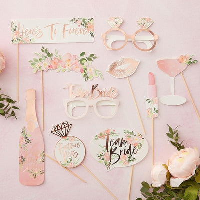 Team Bride Photo Booth Prop pack, Floral Hen Party