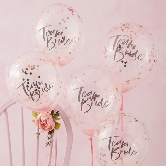 Team Bride Rose Gold Confetti balloons - Floral Party