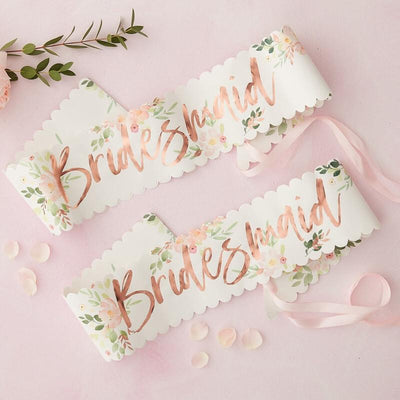 Floral Rose Gold Bridesmaid Sashes, Rose Gold Team Bride, Hen party,