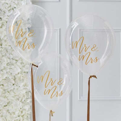 5 Gold Mr & Mrs Latex Balloons, Clear Wedding Balloons, Gold Wedding Decorations,