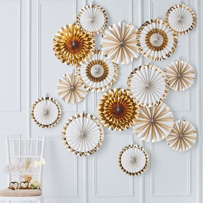 15 Gold Paper Fan Decoration, Rustic Wedding, Gold Wedding Deco, Gold Baby Shower,
