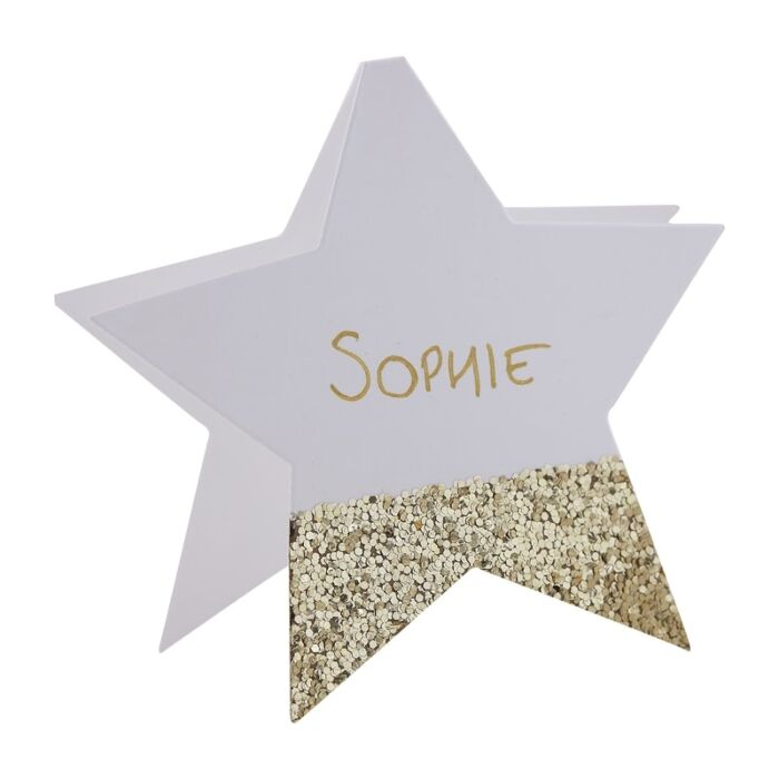 6 Gold Glitter Star Place Card, Wedding Place Cards, Personalised Gold Place Cards ,