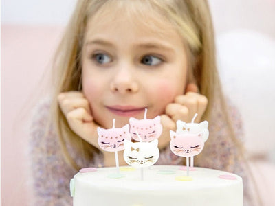 6 Kitten Birthday Candels, Kitty Candles, 1st Birthday, Girl birthday Party, Pink Cat Deco, Kitty Birthday Party