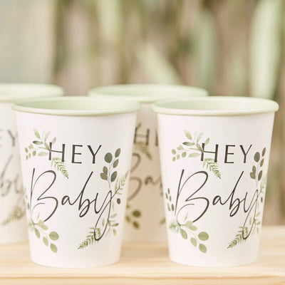 Botanical Baby Shower Cups, Neutral baby Shower, Gender Reveal Party Cups, Baby Shower Green Leafs Cups