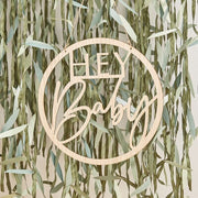 Wooden Hey Baby Shower Sign, Botanical Baby Shower Decorations, Eco Baby Shower