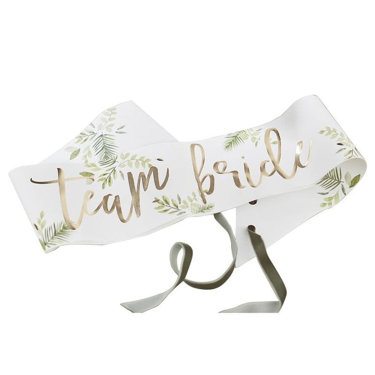 Botanical Gold Bride to Be Sashes, Bachelorette Party, Bridal Shower Sahes, Golead team Bride