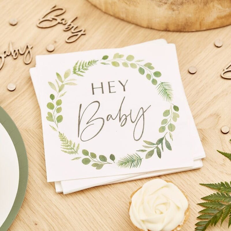 Botanical Baby Shower Plates, Neutral baby Shower, Gender Reveal Party Plates, Baby Shower Green Leafx Plates ,