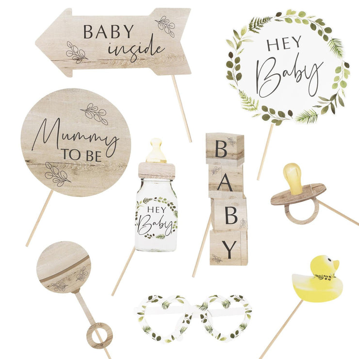 10 Baby Shower Photo Props, Botanical Baby Photo Booth Props, Eco Baby Shower
