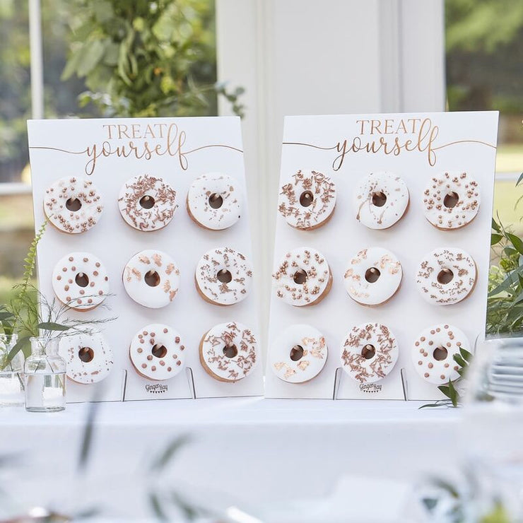 Roase Gold Treat Yourself Donut Wall, White Donut Wall, Rustic Wedding Decor, Food Display