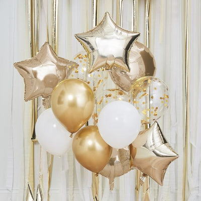 Gold Chrome Balloons Bundle, Gold Balloons Bouquet, Balloons Decoration