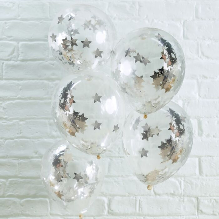 5 Silver Star Confetti Balloons, Space Party Balloons, Confetti Balloons