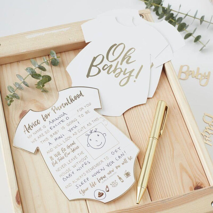 10 Advice For The Parents Cards, Gold Baby Shower Game,