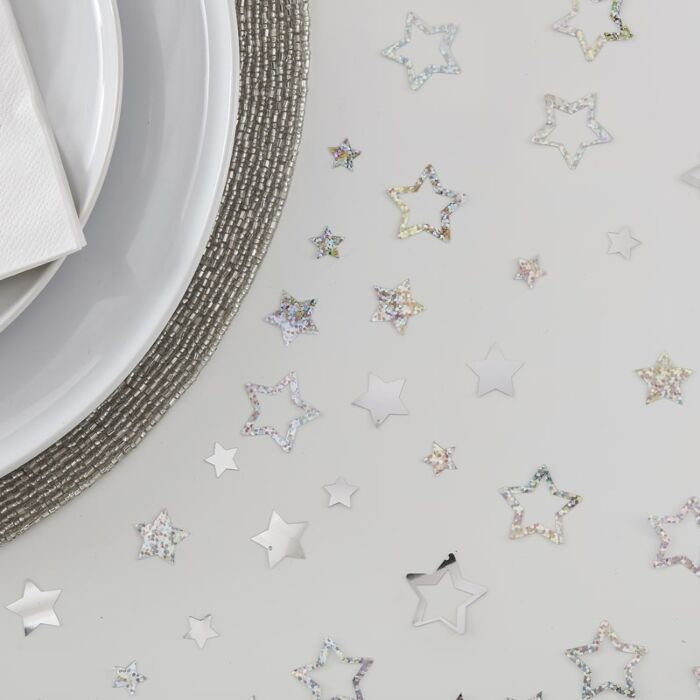 Silver Stars Table Confetti , Wedding Table Decoration, Space Party Confetti,
