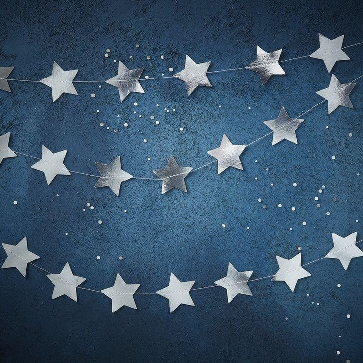 Silver Stars Bunting, Space Party Decoration, Silver Stars Garland ,