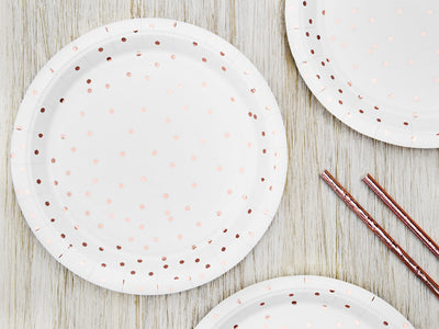 Rose Gold Foiled Paper Plates , Hen Party, Tea Party Plates, Bridal Shower Party Plates,