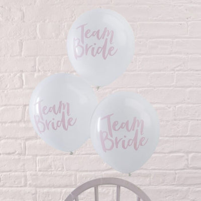 5 Pink Team Bride Balloons, Hen Party, Bridal Party Balloons,