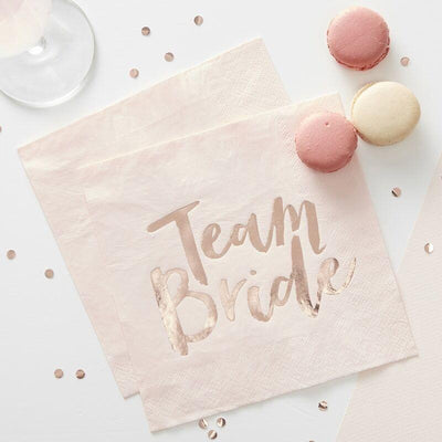 Rose Gold Foiled Team Bride Napkins,  Bridal Shower Napkins, Party Napkins,