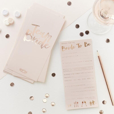 10 Rose Gold Bride to Be Advice Cards,