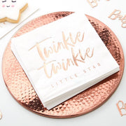 Rose Gold Twinkle Paper Napkins, Baby Shower Napkins, Baby Shower, 1st Birthday, New baby,