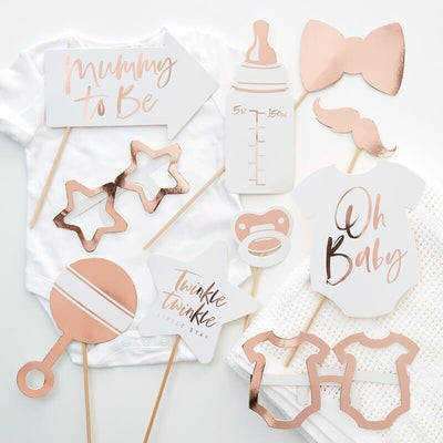 Rose Gold Baby Shower Photo Props 10pc, Rose Gold Baby shower Decor,