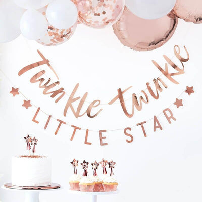 Rose Gold Twinkle Little Star Bunting, Baby Shower Banner,