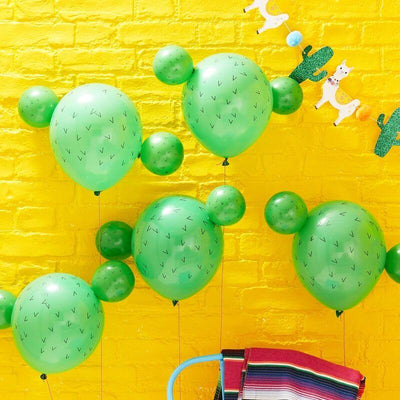 5 Cactus Latex balloons , Mexican Party Decoration,