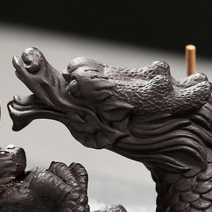 Delicate Chinese Dragon Black Waterfall Burner