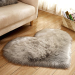 Love Heart Rugs Artificial Wool Hairy Carpet