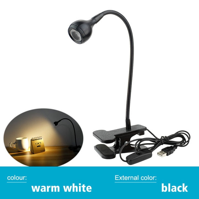 Eyes Protection LED Desk Light Clamp Lamp Flexible LED Book Reading Desk Lamp USB Clip On Desk Light Bedroom Night Lighting