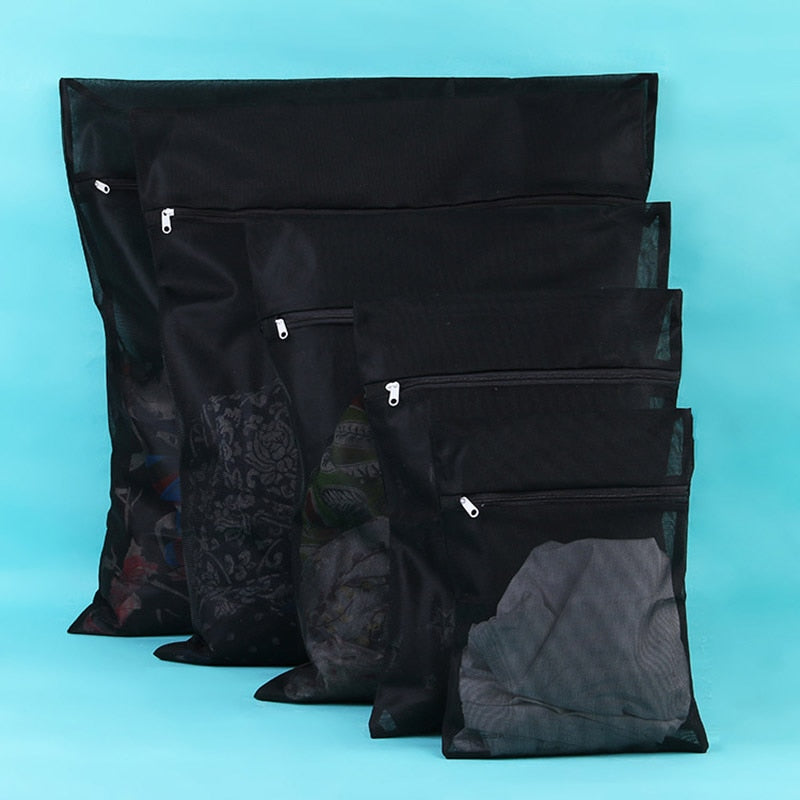 New 1PC Clothes Washing Machine Laundry Bag With Zipper Nylon Mesh Net Bra Washing Bag 5 Sizes Black Wash Bags