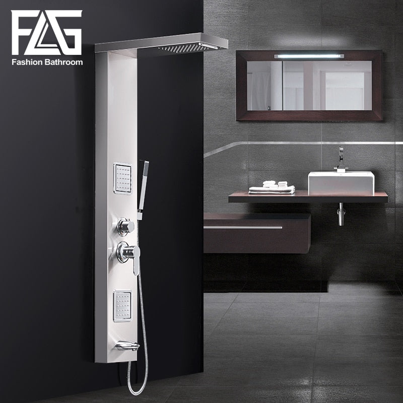 FLG Rainfall Shower Panel Rain Brushed Nickel With Body Massage System Faucet with Jets Stainless Steel Hand Shower Set LY110-01