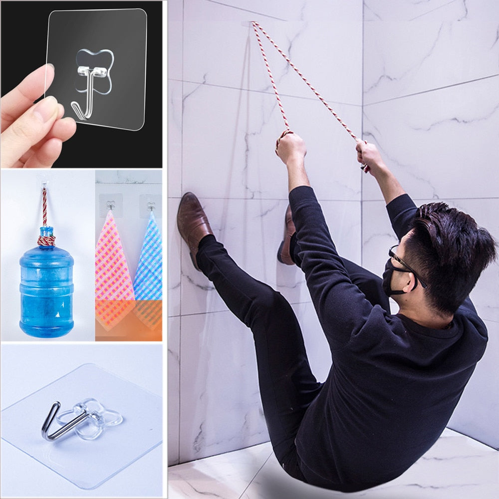10PCS Strong Transparent Suction Cup Sucker Wall Hooks Hanger For Kitchen Bathroom 6*6cm Sale Wall Hooks