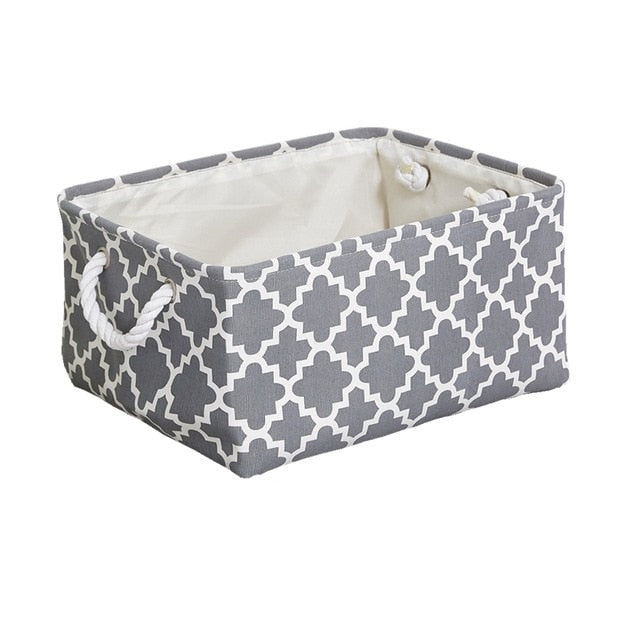 Cube Canvas Fabric Storage Basket Clothes Folding Storage Box For Nursery Underwear Toy Organizer Laundry Basket With Handle