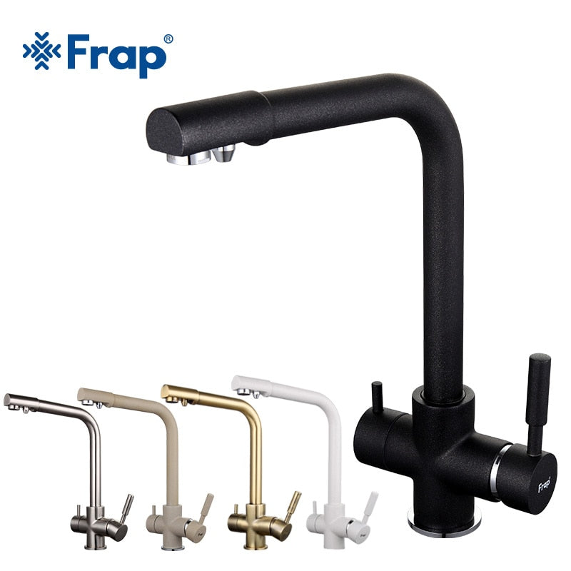 Frap New Black Kitchen sink Faucet mixer Seven Letter Design 360 Degree Rotation Water Purification tap Dual Handle