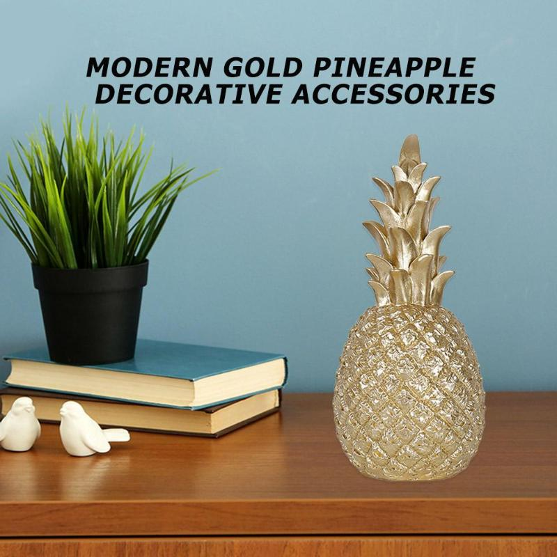 Nordic Modern Home Decor Pineapple Ornament Synthetic Resin Individual Metal Finishes Craft Window Desktop Display Props