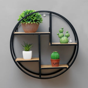Nordic Iron Storage Rack Shelf Wall Hanging Ornaments Geometric Figure Home Wall Decoration Sundries Key Flower Pot Album Holder