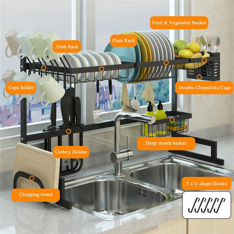 Household Kitchen Storage Sink Faucet Sponge Soap Storage Storage Bag Drain Rack Kitchen Accessories Organizer Dish Drying Rack